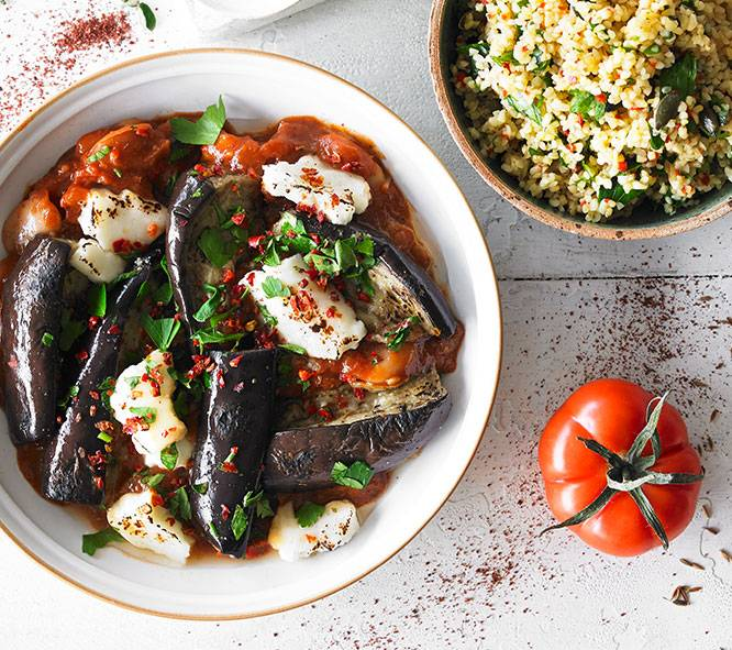 ROASTED AUBERGINE & HALLOUMI with butter beans & bulgur wheat