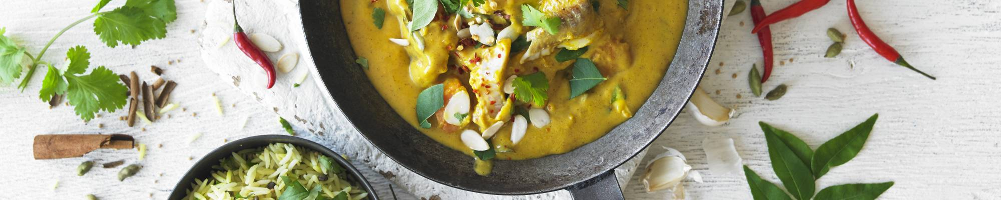GOAN FISH CURRY with pollock, sweet potato, turmeric & biryani rice