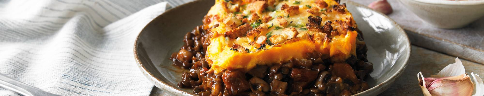 Vegetarian Cottage Pie with Sweet Potato mash