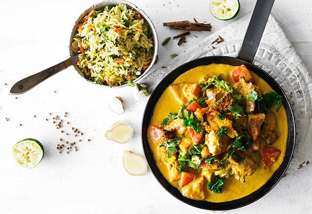 GOAN FISH CURRY with sweet potato, kale, turmeric & biryani rice