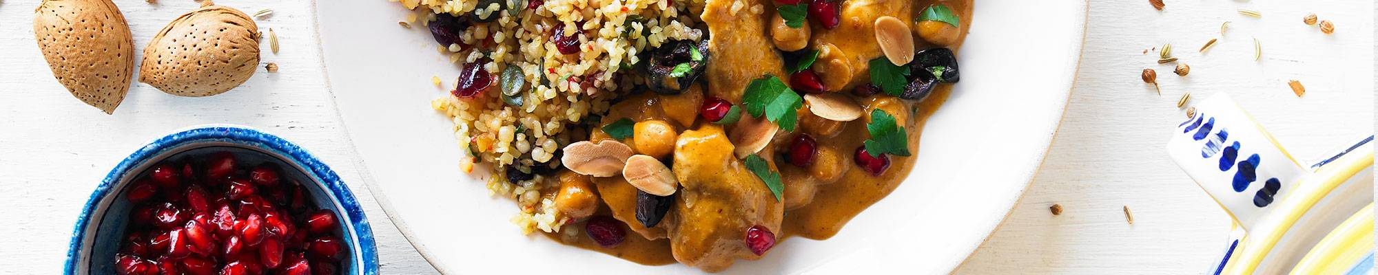 MOROCCAN CHICKEN with olives, almonds & jewelled bulgur wheat