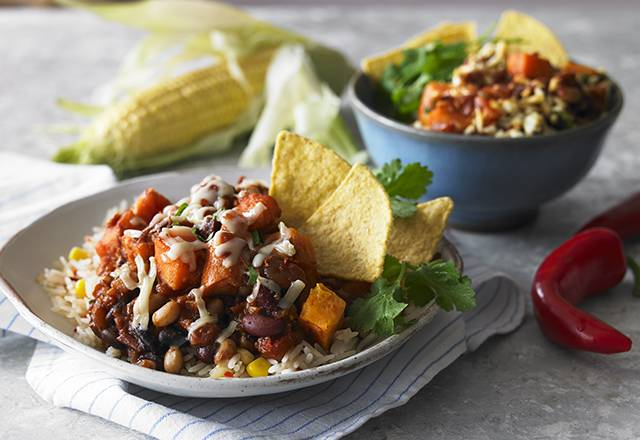 SWEET POTATO & BEAN CHILLI WITH MEXICAN RICE