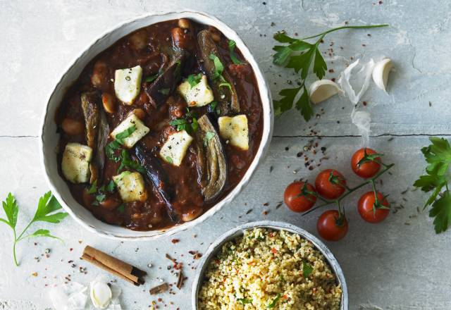 ROASTED AUBERGINE & HALLOUMI with bulgur wheat