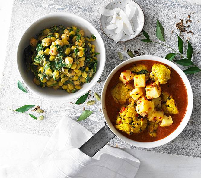 Cauliflower & Paneer Curry with Chickpea, Spinach & Lentil Dhal